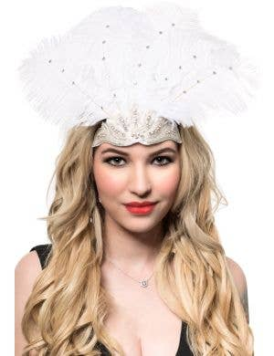 White Feather Showgirl Headband with Rhinestones 1