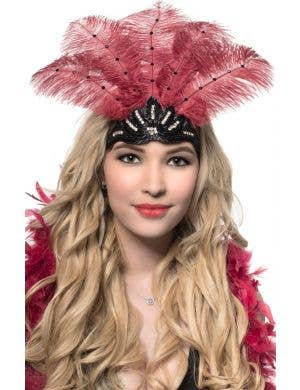 Deep Red Feathers and Black Beads Showgirl Headband