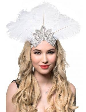 White Feather Showgirl Headband with Sequins and Beads