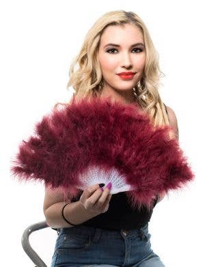 Deep Red 50cm Fluffy Feather Fan View 1