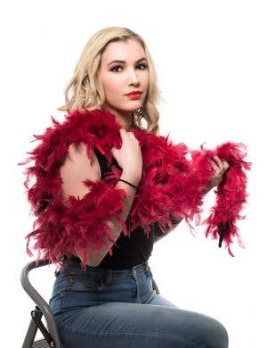 Deep Red Fluffy Feather Boa Costume Accessory
