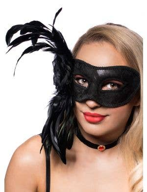 Deluxe Black Lace Overlay Side Feather Masquerade Mask