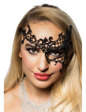 Women's Black Lace Overeye Masquerade Mask Front