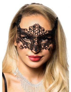 Women's Black Lace Cat Eyes Masquerade Mask Front 1