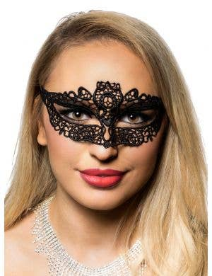 Women's Black Lace Wide Eyed Masquerade Mask Front 1