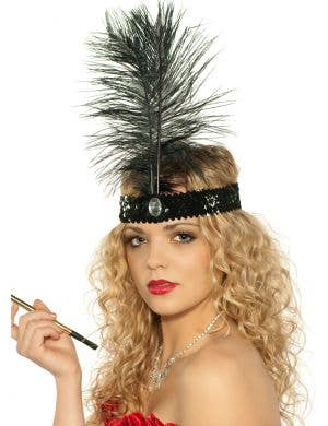 Tall Black Feather and Sequins 1920's Flapper Headband View 1
