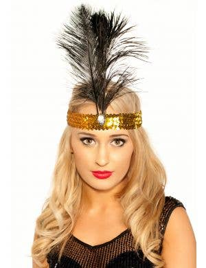 Tall Black Feather 1920's Gold Flapper Headband View 1