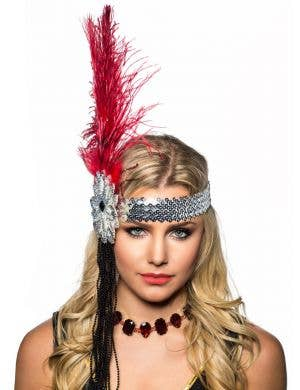 Tall Deep Red Feather and Beads Flapper Headband Headpiece Front View
