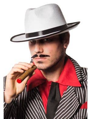 Men's White 1920's Gangster Fedora Costume Hat View 1