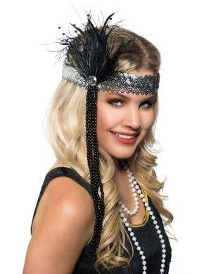 Black and Silver Soft Feather Flapper Headband with Beads View 1