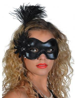 Side Feather Black Vinyl Masquerade Mask