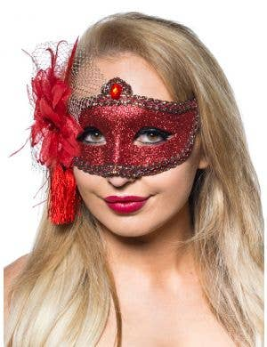 Celebration Glitter Masquerade Mask - Red