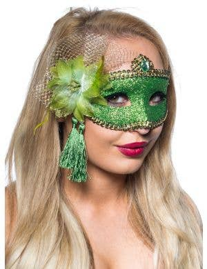 Celebration Glitter Masquerade Mask - Green