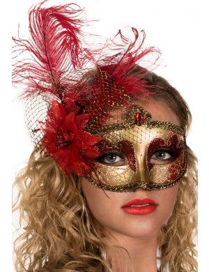 Victorian Masquerade Mask - Red and Gold