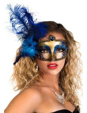 Victorian Masquerade Mask - Blue and Gold