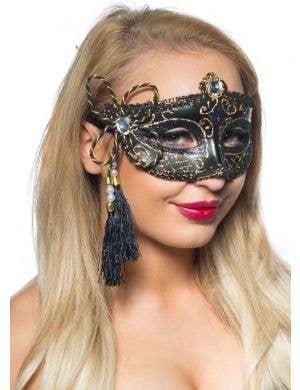 Tassel Venetian Masquerade Mask - Black and Gold