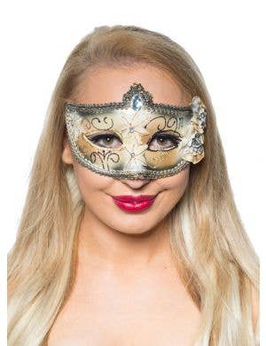 Edwardian Masquerade Mask in Black and Gold Front View
