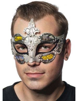 Men-s Black and Crackle Paint Renaissance Style Masquerade Mask View 1