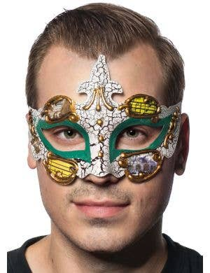 Baroque Men's Green Masquerade Mask