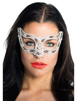 Deluxe Black Rosettes Crystal Masquerade Mask