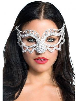 Women's Rhinestone Crystals Pointed Deluxe Masquerade Mask View 1