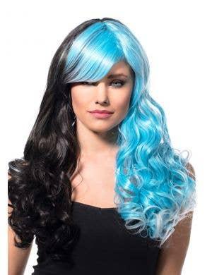 Aria Black and Aqua Split Curls Wig