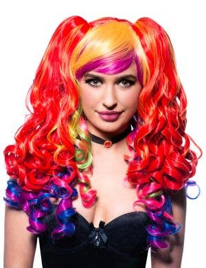 Ayla 3 Style Rainbow Deluxe Long Curly Wig - Look 1 Front
