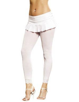 Leggings with Lace Trim in White