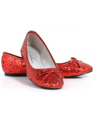 Mila Red Glitter Women's Dorothy Inspired Flat Shoes