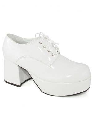 1970's Men's White Patent Platform Costume Shoes
