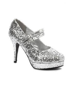 Jane Women's Silver Glitter Stiletto Costume High Heels