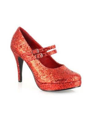 "Glitter Red Jane 4"" Double Strap High Heel Costume Shoes"