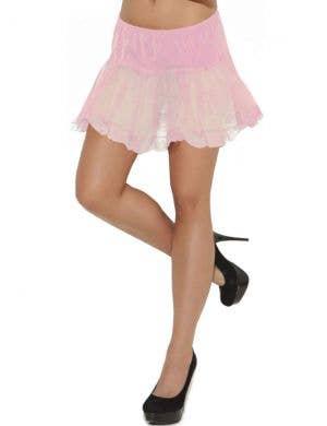 Pale Pink Lace Trimmed Women's Petticoat