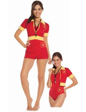 Women's Red Baywatch Costume Main Image
