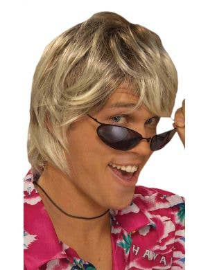 Surfer Dude Men's Blonde Mullet Costume Wig