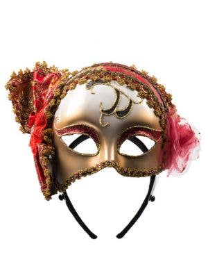 Deco Red & Gold Brocade Masquerade Mask