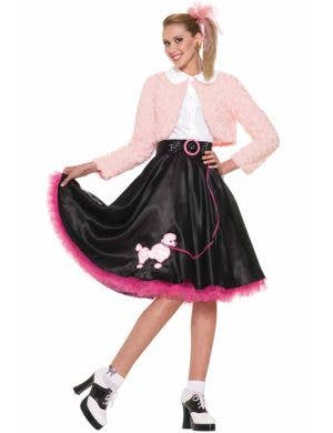 Women's 50's Pink and Black Cute Poodle Skirt Costume Front