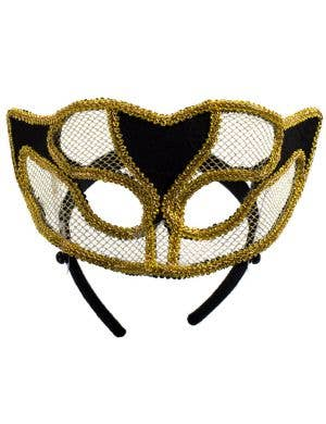 Netted Gold Masquerade Mask on Headband