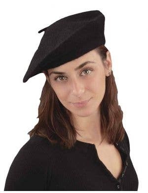 French Black Beret Costume Hat