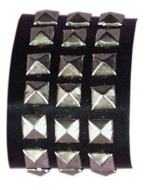 1980's Studded Black Wrist Cuff Costume Accessory