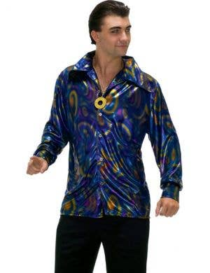 70's Disco Men's Plus Size Metallic Costume Shirt Front View