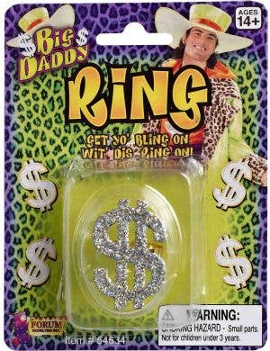 Dollar Sign Novelty Silver Pimp Ring View 1