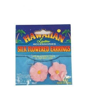 Hawaiian Flower Clip On Costume Earrings - Pink