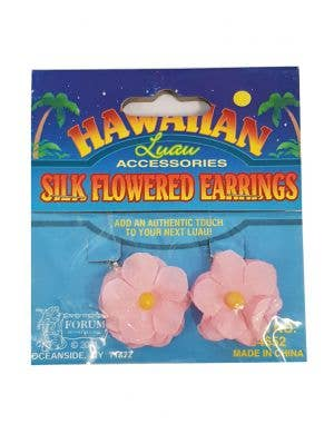 Hawaiian Flower Clip On Costume Earrings - Pink