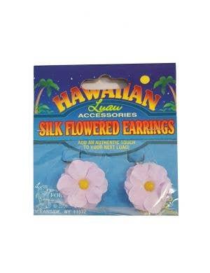 Hawaiian Flower Clip On Costume Earrings - Purple
