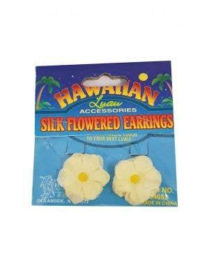 Hawaiian Flower Clip On Costume Earrings - Yellow