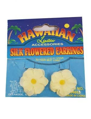 Hawaiian Flower Clip On Costume Earrings - Yellow
