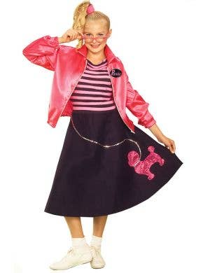 Girl's 1950's Rockabilly Black Poodle Skirt Fancy Dress Front