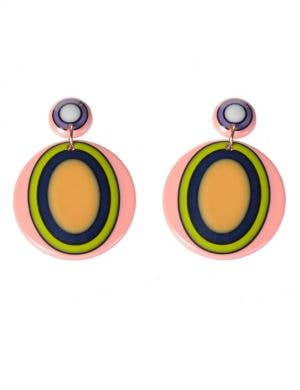 60's Mod Oval Retro Drop Costume Earrings