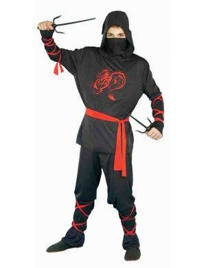 Teen Boy's Black Ninja Fancy Dress Costume Front View